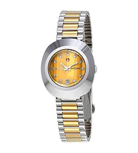 Rado DiaStar Original Swiss Automatic Watch with Stainless Steel Strap, Gold, 21 (Model: R12403633)
