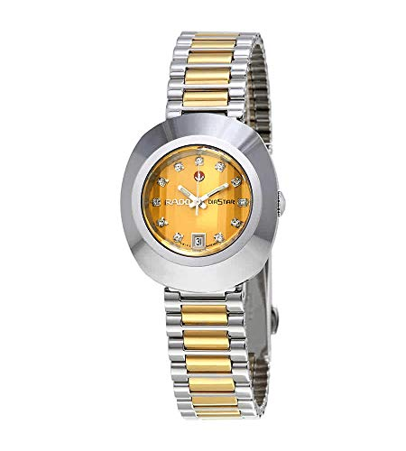 Rado DiaStar Original Swiss Automatic Watch with Stainless Steel Strap, Gold, 21 (Model: R12403633)