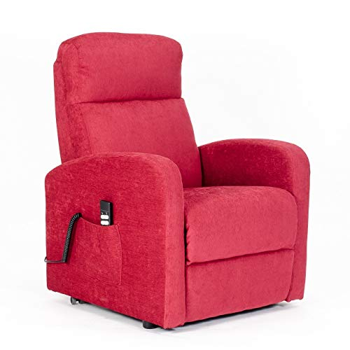 POLTRONE ITALIA - Poltrona elevabile elettrica 2mot reclinazioni indip. Seduta micromolle, assemblata Anziani Relax Sicurezza CE Medicale DETRAIBILE 19% - Poltrona-Chanel-2M-TARED Rosso antimacchia