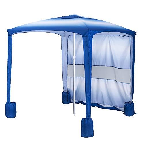 AMMSUN Beach Tent 5.5' × 5.5' Beach Canopy Sun Shelter with Sandbag Anchors Aluminum Pole Windproof Portable Sun Shade for Beach(Blue/White)