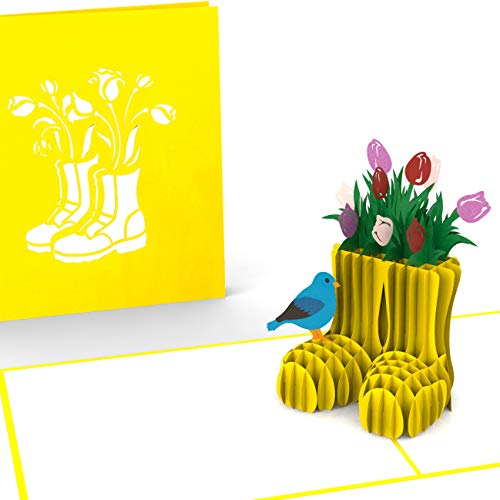 Gelukswenskaart verjaardagskaart, gele laarzen met tulpen, XXL 3D pop-up-kaart, diverse gelegenheden, tuiniers, natuurvrienden, volkstuintjes, wenskaart als bedankje, originele cadeaukaart