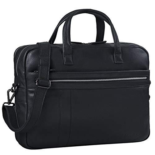STILORD \'Conrad\' Businesstasche Aktentasche Leder mit 15.6 Zoll Laptop-Fach Zweifachteilung Vintage Umhängetasche für Büro Arbeit Leder Tasche, Farbe:schwarz