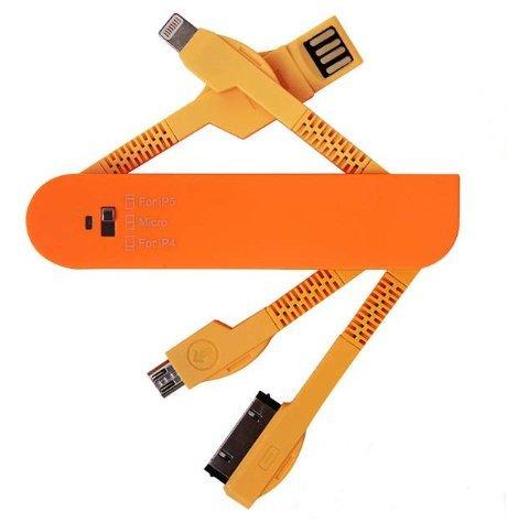 ESupFly, USB-gegevens-/oplaadkabel in stijl Zwitsers zakmes voor Apple iPhone 4, 4S, 5, 5S, 6, 6 Plus, iPad 2, 3, iPad Air Mini, iPod, Samsung Note, Samsung Galaxy S6 / S6 Edge / S5 / S4, mobiele telefoons pads en MP3-speler met micro-USB, andere micro-USB-apparaten oranje