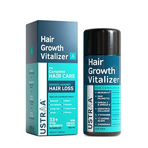 USTRAA Hair Growth Vitalizer - Boosts hair growth, Prevents hair fall- Hair Oil With Redensyl, Saw Palmetto, Wheatgerm & Jojoba Oil, No Mineral Oil - 100 ml