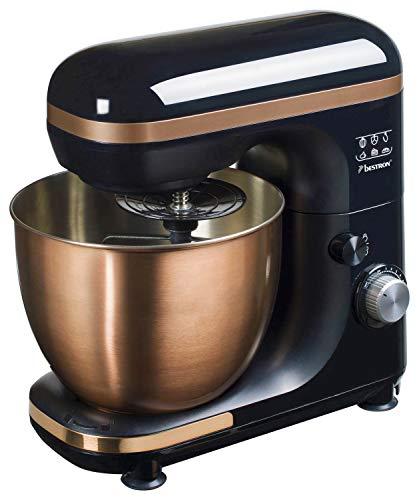 Bestron 4-in-1 Küchenmaschine (Kneten, Unterrühren, Schlagen, Vermischen), 1.000 W, Edelstahl/Kupfer-Optik