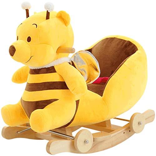 Cavallo a dondolo per bambini Educazione precoce Giocattoli educativi Vestito lungo Cintura a dondolo in legno massiccio con orso giallo Musica