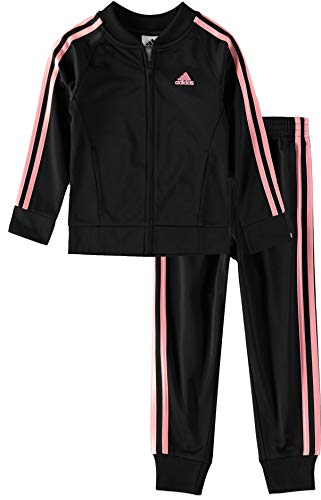 adidas Girls' Little Tricot Jacket & Jogger Active Clothing Set, Black/Lightpink, 6X