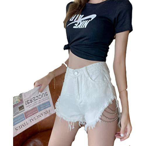 Pantalones Cortos de Moda para Mujer Moda de Cintura Alta Hip Hop Diseño Rasgado Decoración Lavada Pantalones Cortos de Mezclilla Streetwear Sexy S