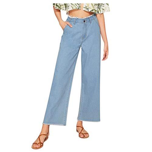 Panty's, joggingbroek, brede broeken, vrouwen, lakken, hoge taille, jeans, knoop, drawstring, taille, bell, ondergoed, denimbroek Medium blauw
