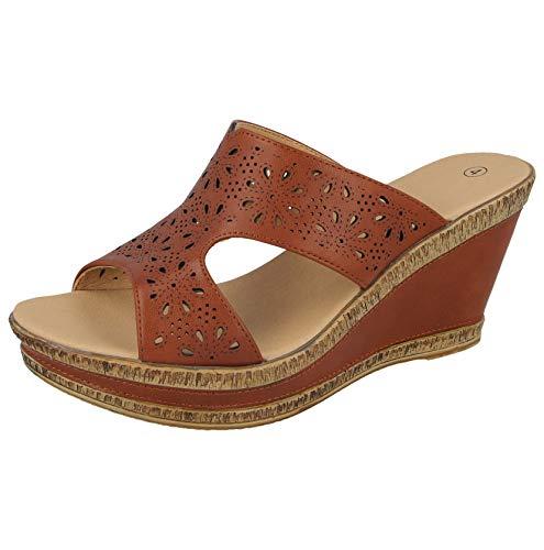 Cushion Walk Damen-Sandalen, Leder, gefüttert, Peep-Toe, mittlerer Keilabsatz, Slipper, Größe 36-42, - Braun PU - Größe: 39 EU