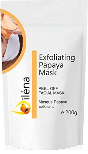 Alginate Peel-Off Feuchtigkeitspuder Maske, Mitesserentferner Gesichtsmaske Vegan, kein Abwaschen, Peeling und Porenreinigung 200 g + freie Dosis (Peeling-Papaya-Maske)