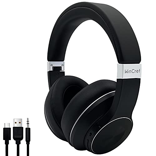 WinCret Cuffie Bluetooth Over Ear, Cuffie Noise Cancelling con 35 ore di Riproduzione, Cuffie Gaming Wireless con Microfono CVC8.0, 5 EQ Modalita di Suono Stereo 3D, Nero