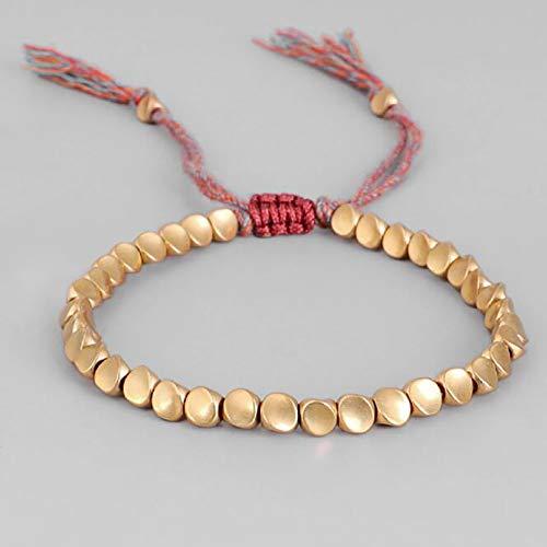 Botreelife Handmade Tibetan Bracelet Braided with Cotton Copper Beads,Lucky Rope Bracelet Bangles for Women Men Thread Bracelets