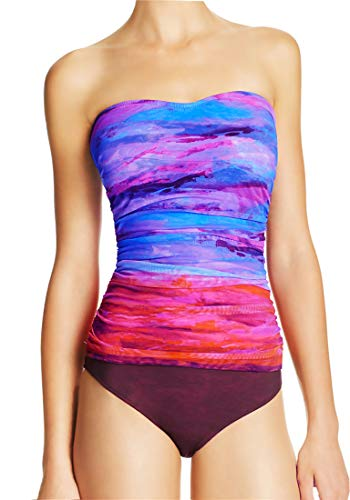 Gottex One Piece Swimsuit Sunset Hues Mesh Overlay Bandeau Ruched Maillot