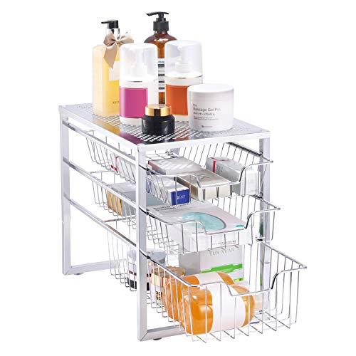 Simple Trending 3-Tier Under Sink Organizer with Sliding Storage Drawer, Cabinet Organizer for Kitchen Bathroom Office, Stackable, Chrome