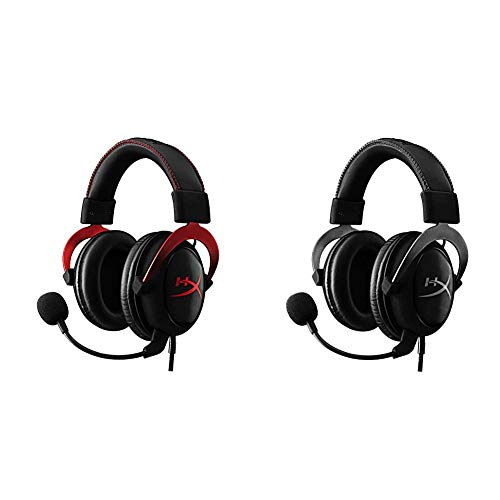 HyperX Cloud II Gaming Headset- Red (KHX-HSCP-RD) with HyperX Cloud II Gaming Headset - Gun Metal (KHX-HSCP-GM) - Bundle