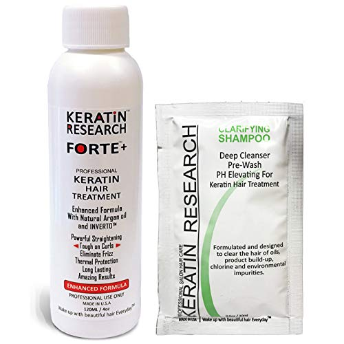 Extra Strength Keratin Forte-Plus Brazilian Keratin Hair Treatment Professional 120ml Bottle with Clarifying Shampoo & Sulfate Free Kit Proven Amazing Results by Keratin research