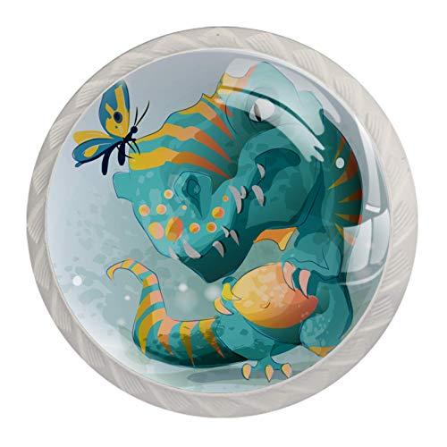 Linda bebé Trex dinosaurio jugando con mariposa | Perillas de gabinete, pomos de cajón negro para gabinetes de cocina (4 unidades)