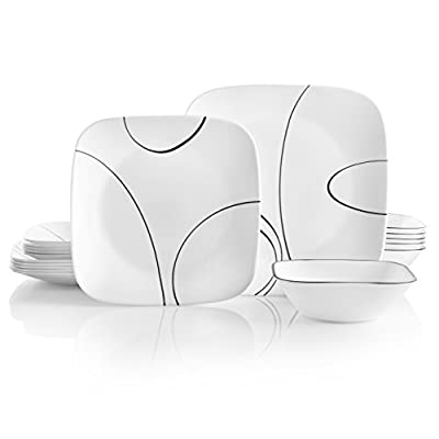 Corelle 18-Piece Service for 6, Chip Resistant, Simple Lines Dinnerware Set