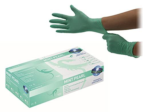 Unigloves Nitrilhandschuhe grün puderfrei - MINT PEARL - 100 Stck. (Größe: 7-8 / M)