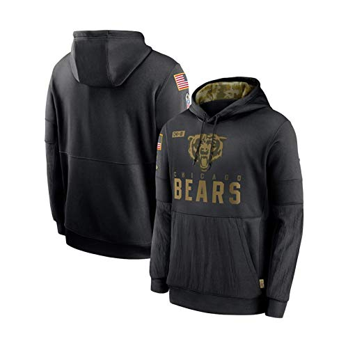 ZWTT Herren Freizeithemden Fußball Hoodies Chicago Bears Sporthemden Freizeitpullover Logo Sweatshirts, XXXL (190-195 cm)-Black-L