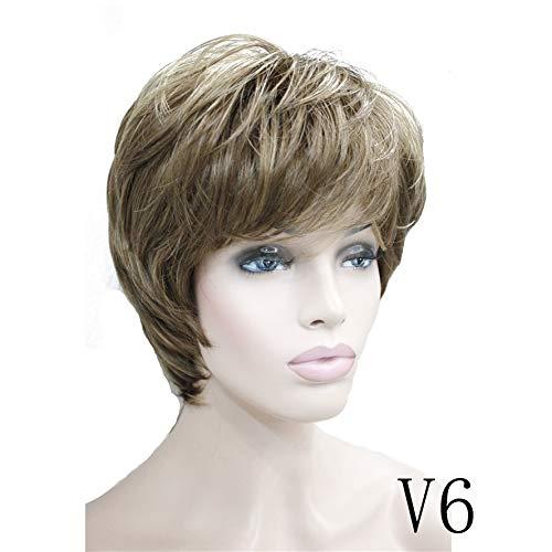 Femmes Ash Perruques Fluffy Natural Blond Courts Cheveux raides synthétique pleine perruque 7 couleur (Color : V6, Stretched Length : 6inches)