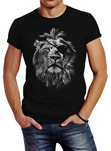 Neverless Cooles Herren T-Shirt Löwe Print Aufdruck Motiv Slim Fit schwarz L