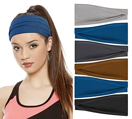 6 Pack Cotton Yoga Headbands Elastic Running Headbands Sports Workout Hair Bands for Men Women