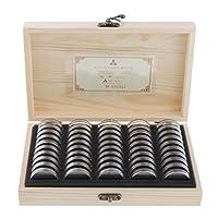 コインケース 木製 ディスプレイ 収納 ボックス 円形 50枚コインカプセル付き ンホルダー 硬貨 記念コイン