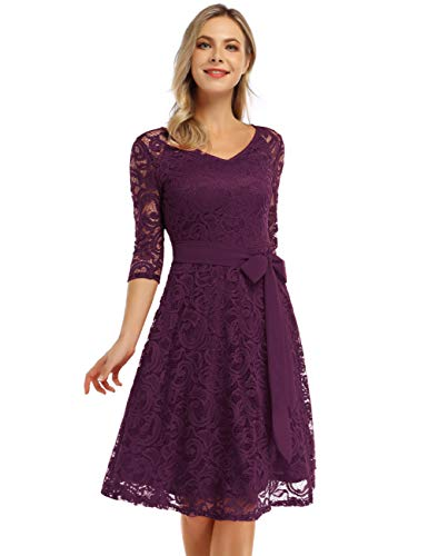 KOJOOIN Damen Vintage Kleid Brautjungfernkleid Knielang Langarm Spitzenkleid Cocktailkleid Lila Grape M