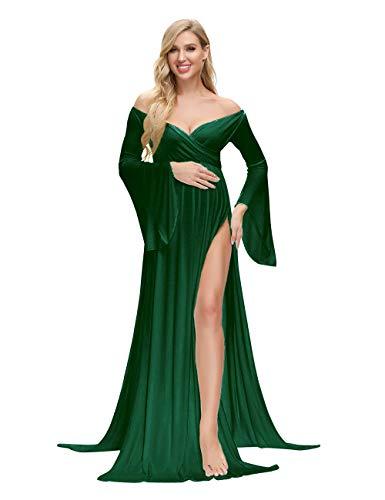 VSNOW Maternity Off Shoulder Long Flare Sleeve Maxi Photography Dress Side Split for Photo Shoot Prop Green
