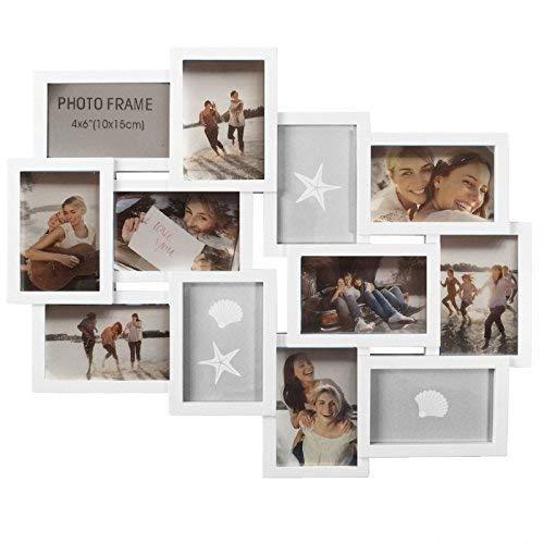 Eurotrade W Ltd wit, nieuwe grote reliëf muur opknoping fotolijst Collage 12 Multi Picture Holder diafragma KF100099