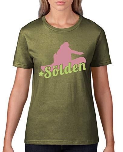 Comedy Shirts - Soelden Snowboard - Damen T-Shirt - Oliv/Rosa-Hellgrün Gr. L