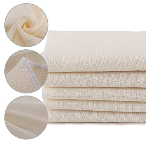XelNaga 5 Pack Muslin Cloths Reusable for Straining, 100% Unbleached Pure Cotton Cheesecloth, Soft Square Cheese Clothes Weave Fabric Filter for Cooking, Baking (50 x 50 cm Food Strainer Cloth)