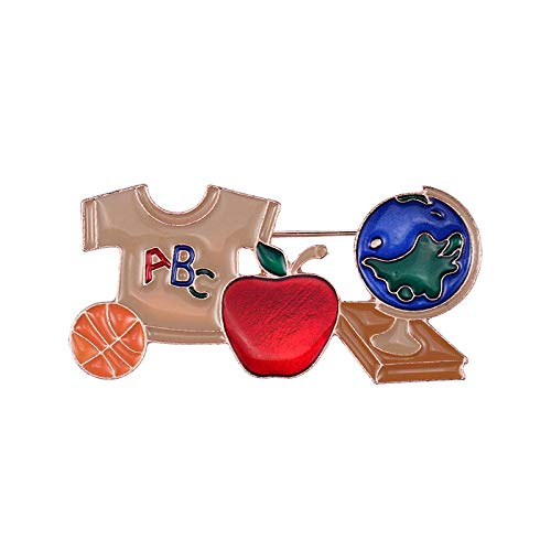 Bleyoum Brooch Red Apple T-Shirt and Globe Enameled Metal Pins for School Students Kids Bags