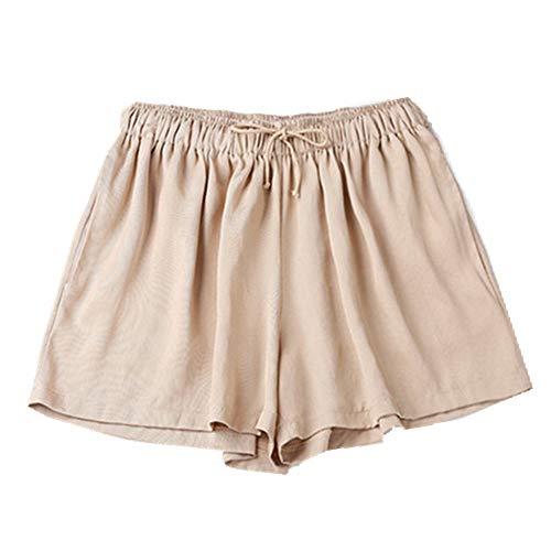 N\P Pantalones cortos de pierna ancha de cintura alta elástica de verano