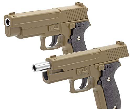 Softair Gun Airsoft Pistole + Munition | Cadofe G26 D Tan. Profi Vollmetall | 22cm. Inkl. Magazin & unter 0,5 Joule (ab 14 Jahre)