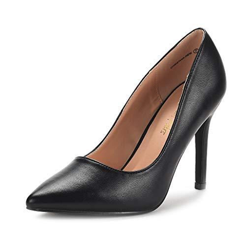 DREAM PAIRS Women's Black Pu High Heel Pump Shoes - 6.5 M US