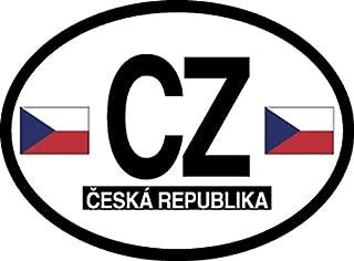 Czech Republic Oval Vinyl Sticker Decal