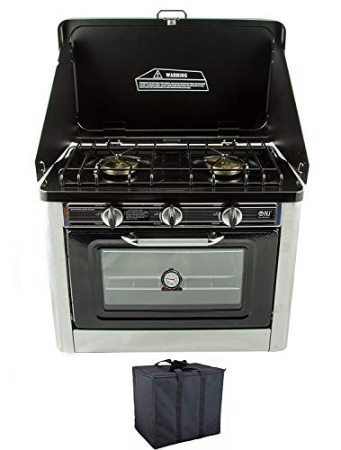 NJ CO-01 Portable Camping Gas Oven & Hob 2 Burners Stainless Steel with Carry Case for Outdoor