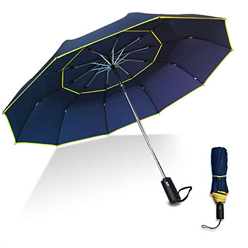 Kalolary Paraguas de Golf Open Automático Doble Cubiertas , Paraguas Plegables A...