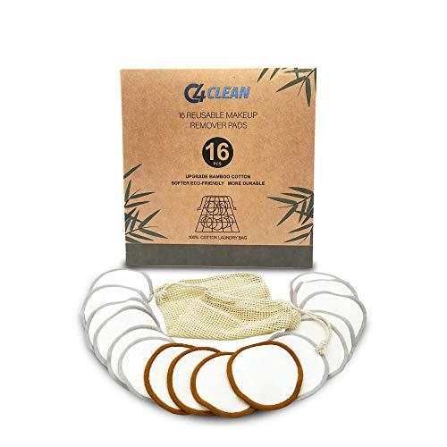 4Clean 16 wasbare make-uppads van bamboe & katoen met wasnet | Zero Waste wattenpads | twee soorten voor hardnekkige make-up en peeling I milieuvriendelijk & duurzaam