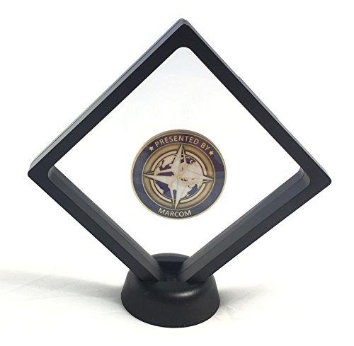 YdoG 3D-Objektrahmen/Münzenständer – Schweberahmen mit Silikon-Membran – Maße 10,8cm x 10,8cm x 2cm – Trophäe/Dekoration/Aufbewahrung für Münzen, Briefmarken, Orden - schwarz
