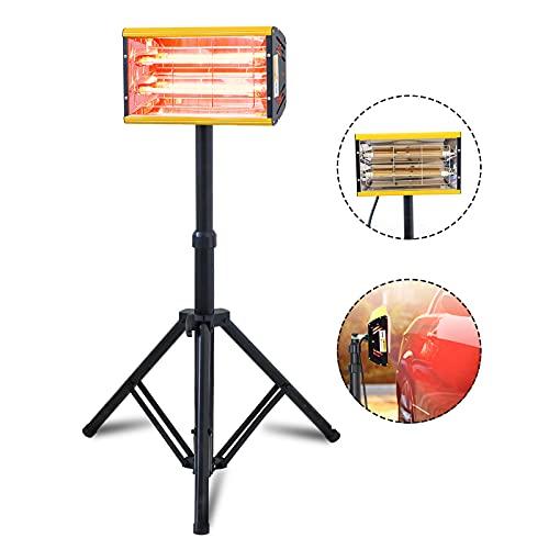 Secador Infrarrojo 2000W Lámpara de Curado de Pintura de Coche EU 220V (2 Tubo de Lanzamiento, 40-230 ℃, Superficie Seca: 350 x 400 mm, Temporizador No, 1 Soporte Telescópico)