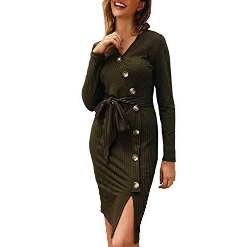 Sannysis Damen Strickkleid Basic Wollkleid Langarm V-Ausschnitt Pullover Kleider Winterkleid Elegant Pullikleid Schmaler Cocktailkleider Pulloverkleid für Frühling Herbst Winter