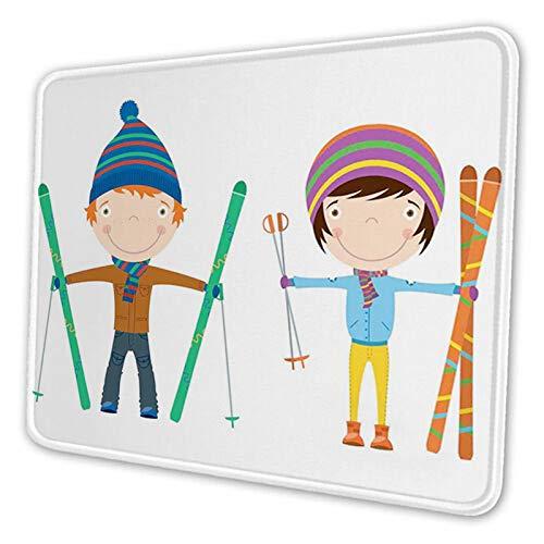 Zabawne rodzeństwo dziewczyna i chłopiec z nartami zima zabawa hobby, niestandardowa podkładka pod mysz spersonalizowany projekt antypoślizgowa gumowa podkładka pod mysz do laptopa