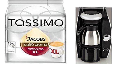 Xavax Isolierkanne, Edelstahl, Heiß-/Kalt-Getränke, 400 ml, Höhe 12,5 cm, Piccolo + 2 x Tassimo Jacobs XL Krönung oder Crema Packungen die Getränkelänge zweier dieser T-Discs ergibt eine Kanne