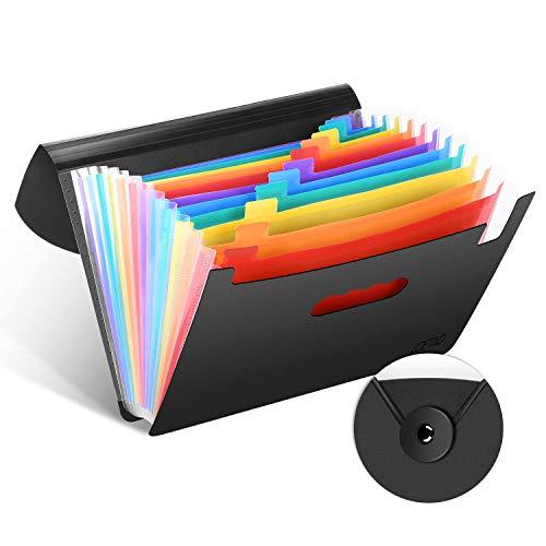LOETAD Dokumentenmappe A4 Fächermappe Datei Organizer mit Gummizug und Verschlußknopf Veranstalter Ordner für Zuhause oder Büro Dokumente Papiere (12 Fächer) MEHRWEG