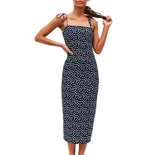 JERFER Kleid Damen Öffnen Schnüren Reißverschluss Drucken Gabel