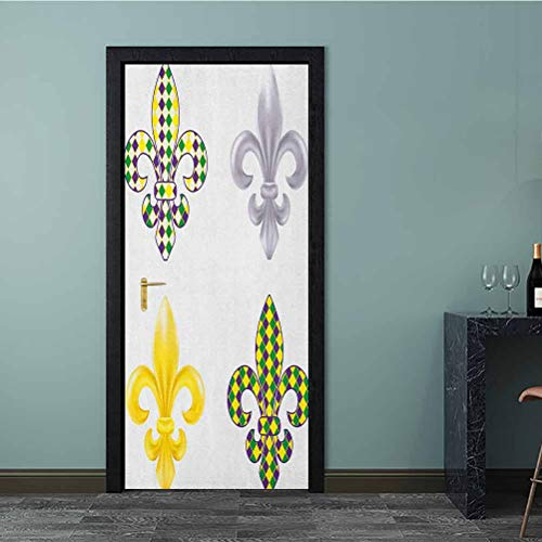 Homesonne 3D Door Stickers Decal Fleur De Lis Motifs with Mardi Gras Pattern Traditional Lily Flowers Collection Full Door Cover Refrigerator Stickers for Kids Room Decoration Multicolor 77x200 CM